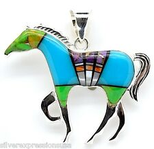 Multi Stones & Sleeping Beauty Turquoise Inlay 925 Sterling Silver Horse Pendant