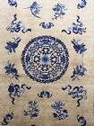 Old Used Vintage Silk Handmade Chinese Rug Carpet Shabby Chic,Size:7.3ft By4.1ft