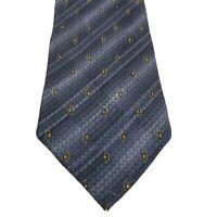 Fanti Mens Tie 100% Silk Made In Italy Blue Gold Foulard Print Necktie Neckwear