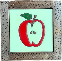 Mexican Style Wooden Trivet with Decorative Ceramic Tile Apple Kitchen Decor