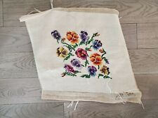 "Vintage Finished Needlepoint 18x22"" Bucilla Pansies, Flowers; for pillow, chair"