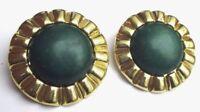 Grosse boucles d'oreilles clips couleur or bijou vintage rond cabochon vert 2184