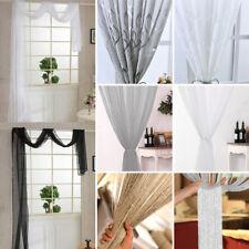 Plain Voile Net Curtains Panels Slot Top Rod Pocket Panel Curtain Pelmets Room