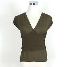 DKNY Olive Green V-Neck Silk Wrap Blouse Top. 2 EUC