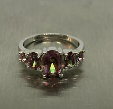 Silver Plated Copper Oval Cut Mystic Topaz Cocktail Ring Size 9