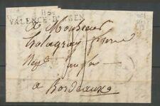 1828 Lettre Marque Linéaire 115 Valence-D'Agen mesure 56*9mm Indice 8 X2325