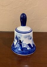 Vintage Elesva Holland 829 Miniature Bell with Blue & White Windmill Design