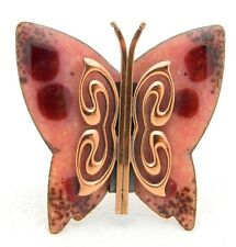 VTG MATISSE RENOIR Signed Pink Red Enamel Copper Butterfly Brooch Pin