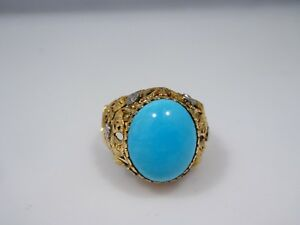 ALLURING 18k GOLD AND TURQUOISE RING SIZE 8 - 4.6 DWT