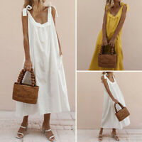 Summer Womens Loose Strappy Solid Holiday Beach Dresses Ladies Long Maxi Dress