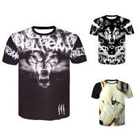 Fashion Men's Casual T-Shirt 3D Print Wolf Short Sleeve O Neck Tops Summer Tee