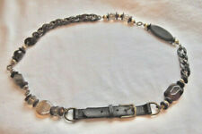 NWOT ~ WORTH New York BEADED Metal CHAIN & Leather BELT ~ M