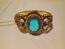 Vtg Art Deco Whiting Davis Turquoise Blue Glass Filigree Hinged Bangle Bracelet