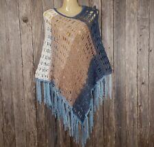 Blue Beige Mandala New Hand Crochet Womens Poncho Sweater Boho Hippie