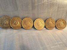 Lot of 6 Alcoholics Anonymous AA Bronze 24hrs 1 3 6 9 Month 1 Year Medallions