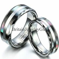 8mm/6mm Tungsten Ring With Synthetic Abalone Shell Inlay Men Women Wedding Ring