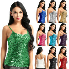 Womens Ladies Glittery Spaghetti Straps Vest Top Blouse Tank Tops T-Shirt Cami