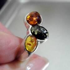 Hadar Designers Israel Modern Art Sterling Silver Amber Ring size 6.5 (H) SALE