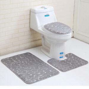 3Pcs/Set Bathroom Non-Slip Solid Color Pedestal Rug +Lid Toilet Cover + Bath Mat