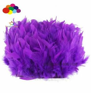 2 Meter Dyed Dark purple Turkey feather fringe trim 6-8inches chandelle marabou