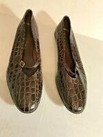 Ladies Shoes size 12 B by Salvatore Ferragamo Brown Alligator look Ankle Strap