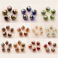5pcs 12mm Flower Rose Peony Camellia Painted Glass Round Beads Transparent Craft