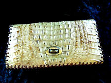 "Vintage~Tan Alligator Clutch Purse~7 1/2"" x 4"" zip inside pocket"