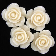 20mm synthetic coral carved rose flower pendant bead 4 pcs cream