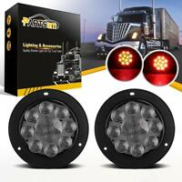 """2x 4"""" Round 12 LED Smoked Lens Red Stop Turn Brake Tail Light Truck Trailer Boat"""