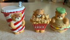 Vintage 1989 Enesco Lucy & Me Bear Burger Fries and Shake