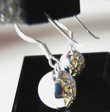 Sterling Silver Ornate Filigree caged white Pearl drop dangle earrings Wedding