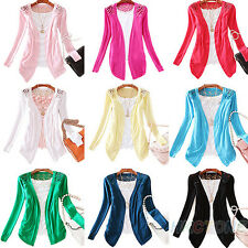 Womens Candy Color Crochet Knitwear Lace Cardigan Blouse Tops Sweater Pink PH6