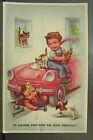 cpa illustrateur fantaisie enfant garagiste mecanicien chien auto