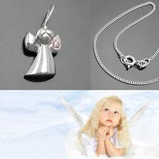 moderner Mini Schutz Engel mit Zirkonia Stein und Kette Echt Silber 925 wählbar