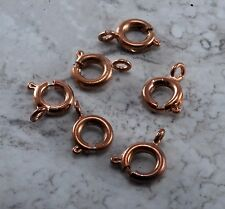 Vintage Copper Metal Spring Ring Clasp Lot of 6 Jewelry Making Beading 6MM
