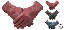 Ladies Red Genuine Leather Gloves 3 Button Design Fleece Lined Winter Warm