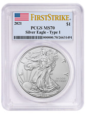2021 1oz Silver Eagle Pcgs Ms70 - First Strike - First Strike Label - In Stock