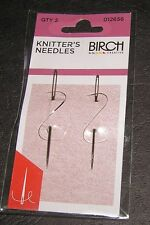 2 Knitters Needles Hand Sewing Large Eye Birch Quality Tapestry 15 18 Embroidery