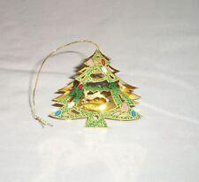 VTG Metal Cut 3D Christmas Tree Ornament Reindeer Figurine Colored Green