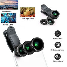3 in 1 Universal Fisheye Fish Eye Wide Angle Macro Clip Lens Set Samsung iPhone