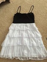 2b Bebe Women Size Small S Black White Spaghetti Strap Bottom Ruffle Dress Miss