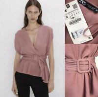 ZARA Wrap Top Size S With Belt Mid-Pink BNWT Sleeveless RRP£25 Smart Casual