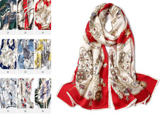 100% Silk Satin Women Scarf neckerchief Shawl large Wrap Floral red S317-003