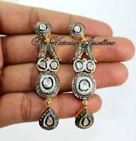 925 Sterling Silver Natural Polki Diamond Victorian Designer Beautiful Earring