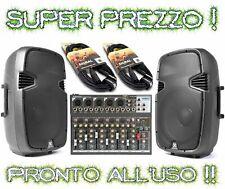 IMPIANTO AUDIO ATTIVO COMPLETO: 2 casse amplificate + 1 mixer 7 ch. + 2 cavi jac