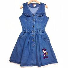 Disney Mickey Inc Minnie Mouse Denim Dress Sz Medium / Large Sleeveless Buttons