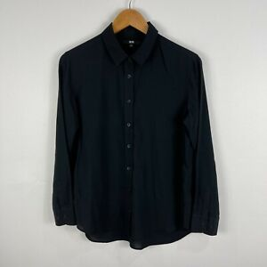 Uniqlo Womens Button Up Shirt Top Small Black Long Sleeve Collared 5.12