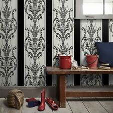 LEONARDO FLOCK DAMASK WALLPAPER BLACK SILVER - ARTHOUSE 952002 LUXURY