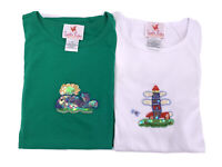 Lot 2 Quacker Factory Womens TShirts Green White 2X Lighthouse Whale Sequins