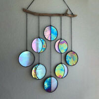 Stained Glass Moon Phase Wall Deco,Clear and Rainbow Iridized Moon Phase Hanging